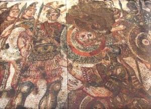 mosaico 300x217 César, Virgílio, Joviano, António e o Mosaico mais Belo do Império Romano descoberto em Alter do Chão