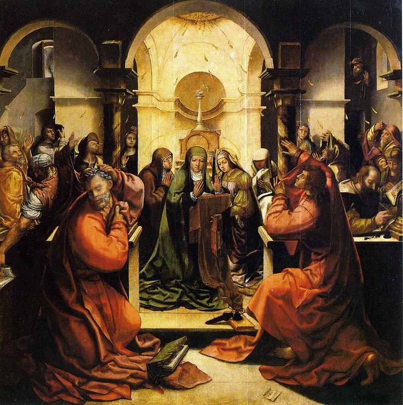 Monastère de Santa Cruz Grão_Vasco,_Pentecostes_da_capela_da_portaria_do_mosteiro_de_Santa_Cruz_de_Coimbra,_1534-35, _assinada_Velasco